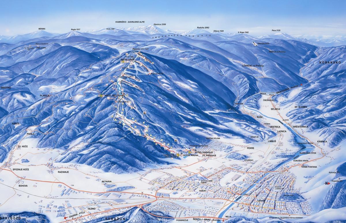Mariborsko  Pohorje panoramska karta skijališta